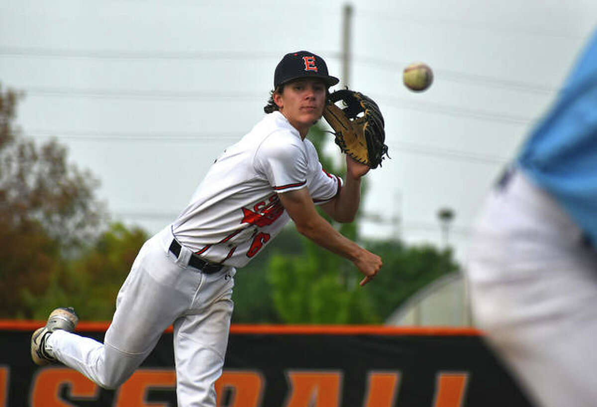 Edwardsville's Gannon Burns delivers a pitch in Monday's win over Belleville East at Tom Pile Field inside the District 7 Sports Complex.