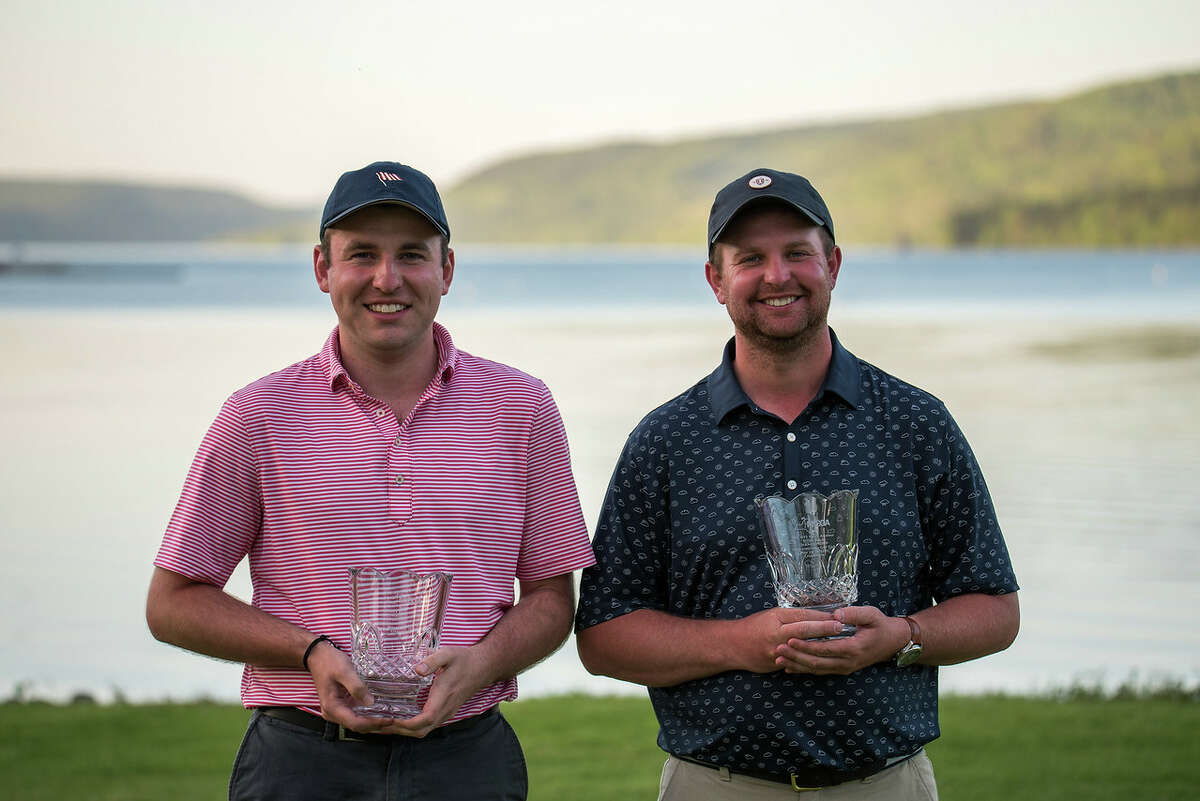 Michael Dwyer, left, and Mike Stopera received exemptions into next week State Amateur at Schuyler Meadows with their victory in the State Four-Ball Championship at Schuyler Meadows. (Dan Thompson/NYSGA)