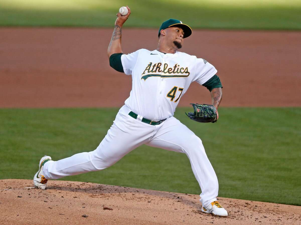 Oakland Athletics' Frankie Montas delivers in 1st inning against Seattle Mariners during MLB game at Oakland Coliseum in Oakland, Calif., on Monday, May 24, 2021.