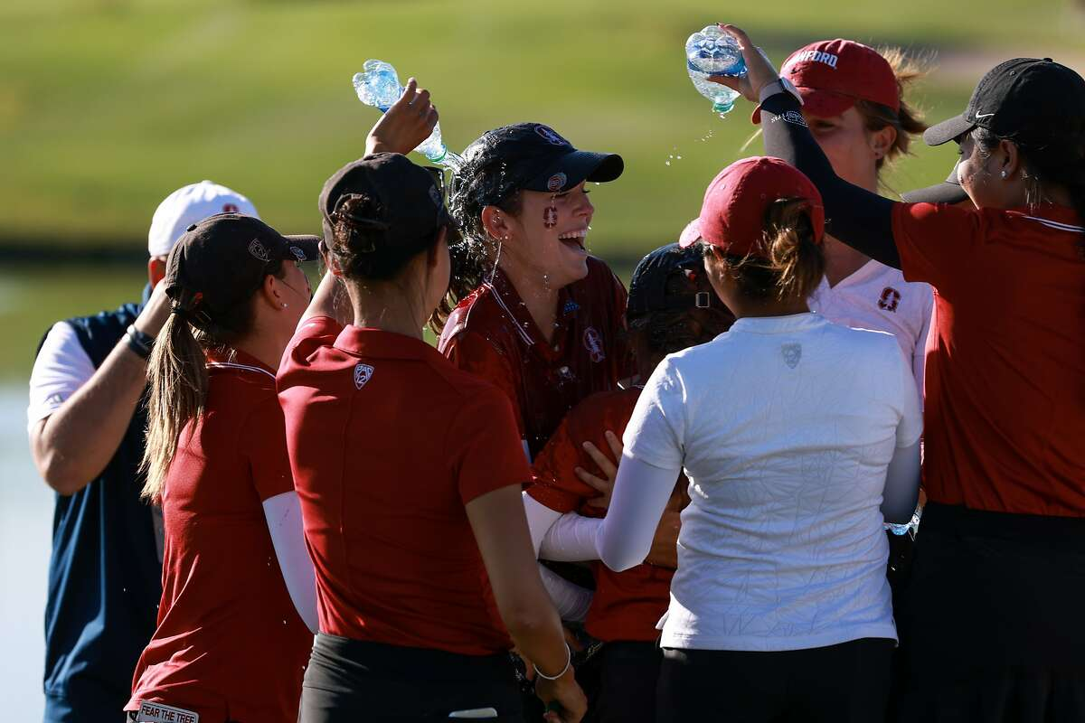 Stanford's Rachel Heck celebrates winning the NCAA individual medalist title Monday at Grayhawk Golf Club in Scottsdale, Arizona.