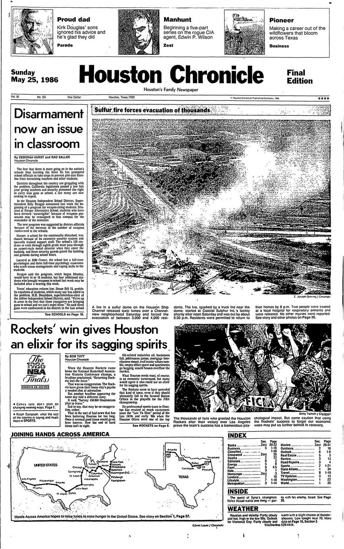 Houston Chronicle front page for May 25, 1986.