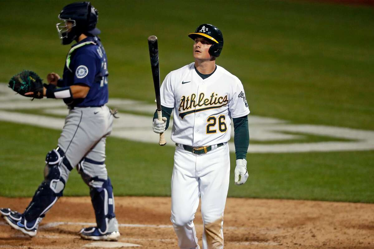 Oakland Athletics' Matt Chapman reacts to striking out in 7th inning against Seattle Mariners during MLB game at Oakland Coliseum in Oakland, Calif., on Monday, May 24, 2021.