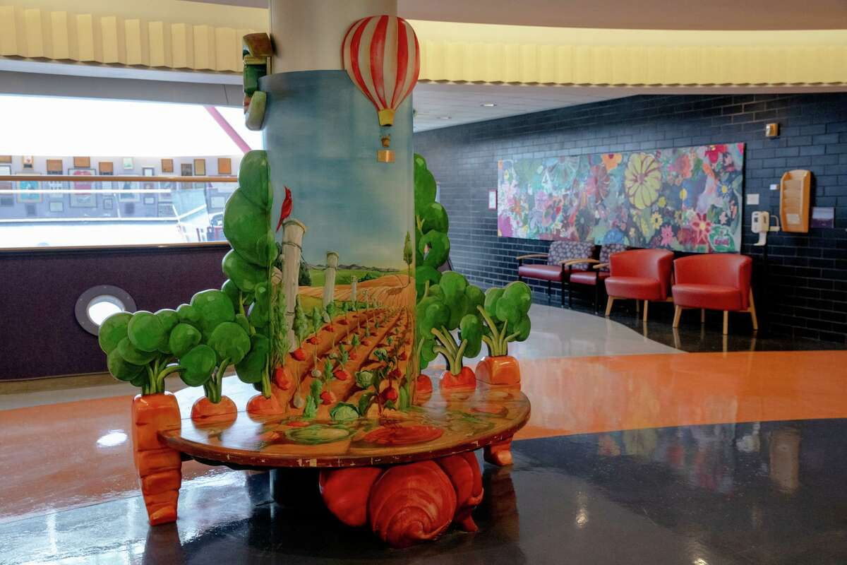 A signature carrot chair at Connecticut Children's Medical Center in Hartford. Interior designs that friendly to children were seen, including painted walls and dolls.