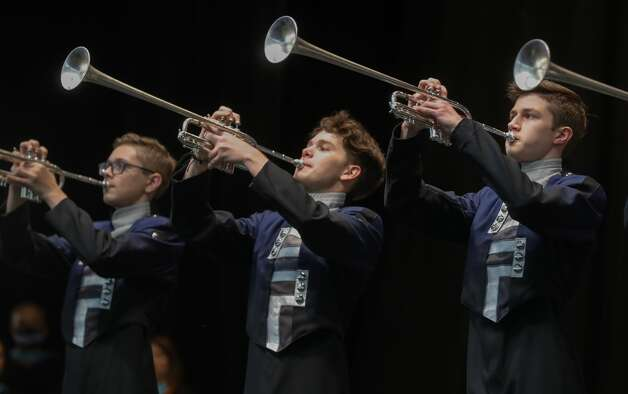 College Park trumpet players perform during a graduation ceremony at Cynthia Woods Mitchell Pavilion, Monday, May 24, 2021, in The Woodlands. Photo: Jason Fochtman/Staff Photographer / 2021 © Houston Chronicle