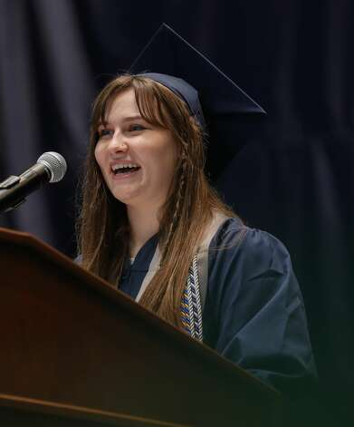 College Park student Jillian Parks speaks during a graduation ceremony at Cynthia Woods Mitchell Pavilion, Monday, May 24, 2021, in The Woodlands. Photo: Jason Fochtman/Staff Photographer / 2021 © Houston Chronicle