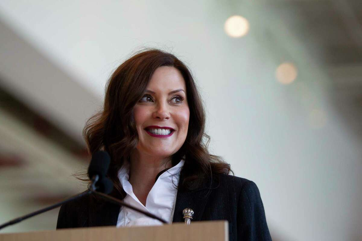 Gov. Gretchen Whitmer speaks at Steelcase in Grand Rapids, Mich., on Monday, May 24, 2021. It was the first day Steelcase is having many of their employees back in the office since the coronavirus pandemic started, thanks to the new MIOSHA rules that changed today, allowing non-essential workers to come back to offices. (Cory Morse/The Grand Rapids Press via AP)
