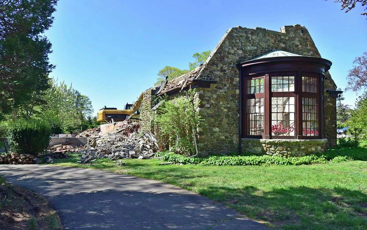 A view of the demolition of 265 Pine Orchard Rd., Branford.