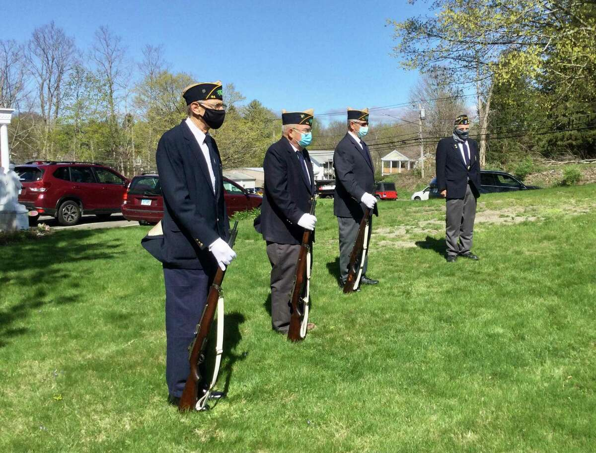 The honor squad with rifles from Post 44 of the American Legion of Bantam's May 1 Veteran of the Month ceremony. From left, Art Schmidt, Charlie Dobos, Jim Moore, Gary Flynn