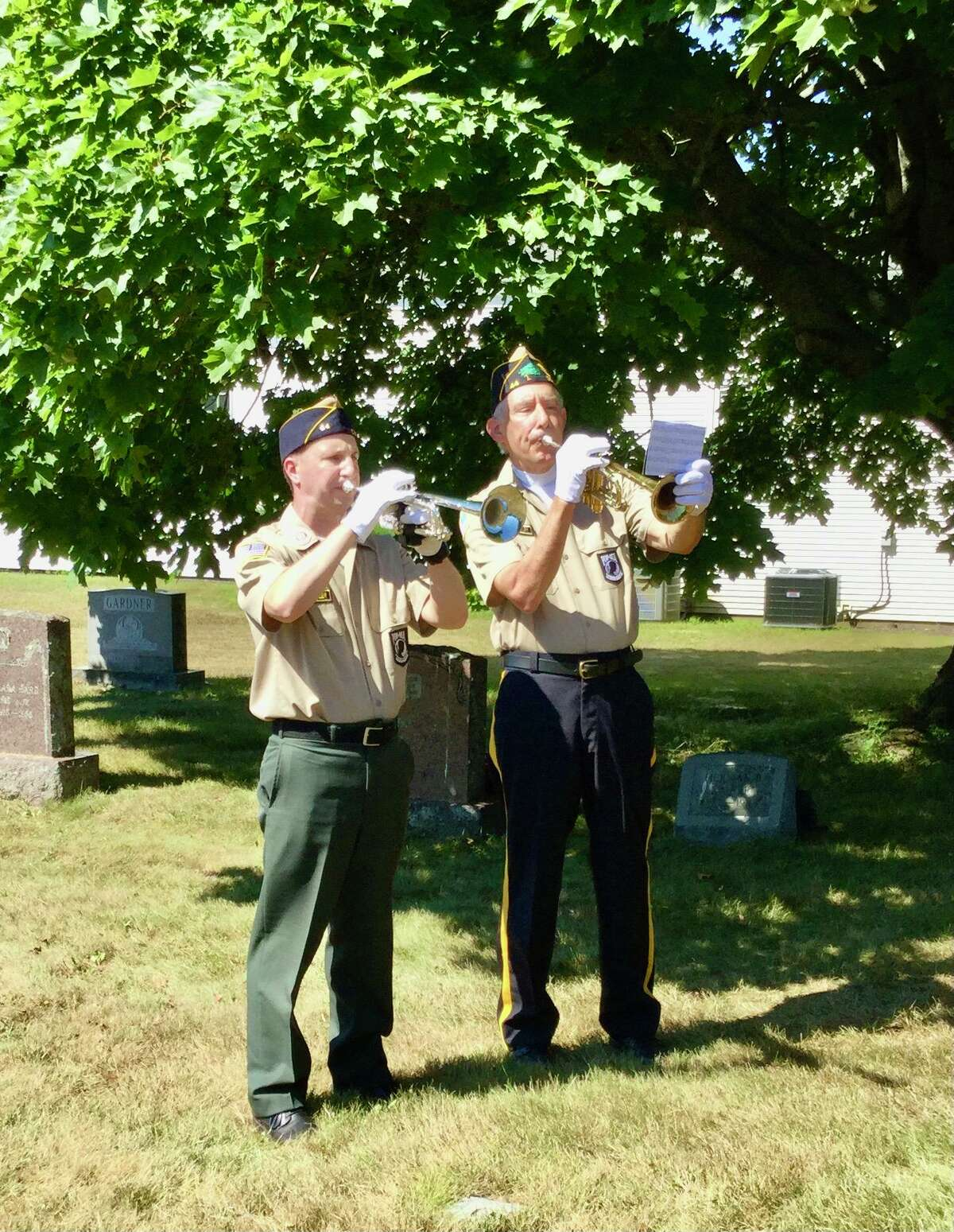 Two buglers at Post 44 of the American Legion of Bantam's Veteran of the Month ceremony.