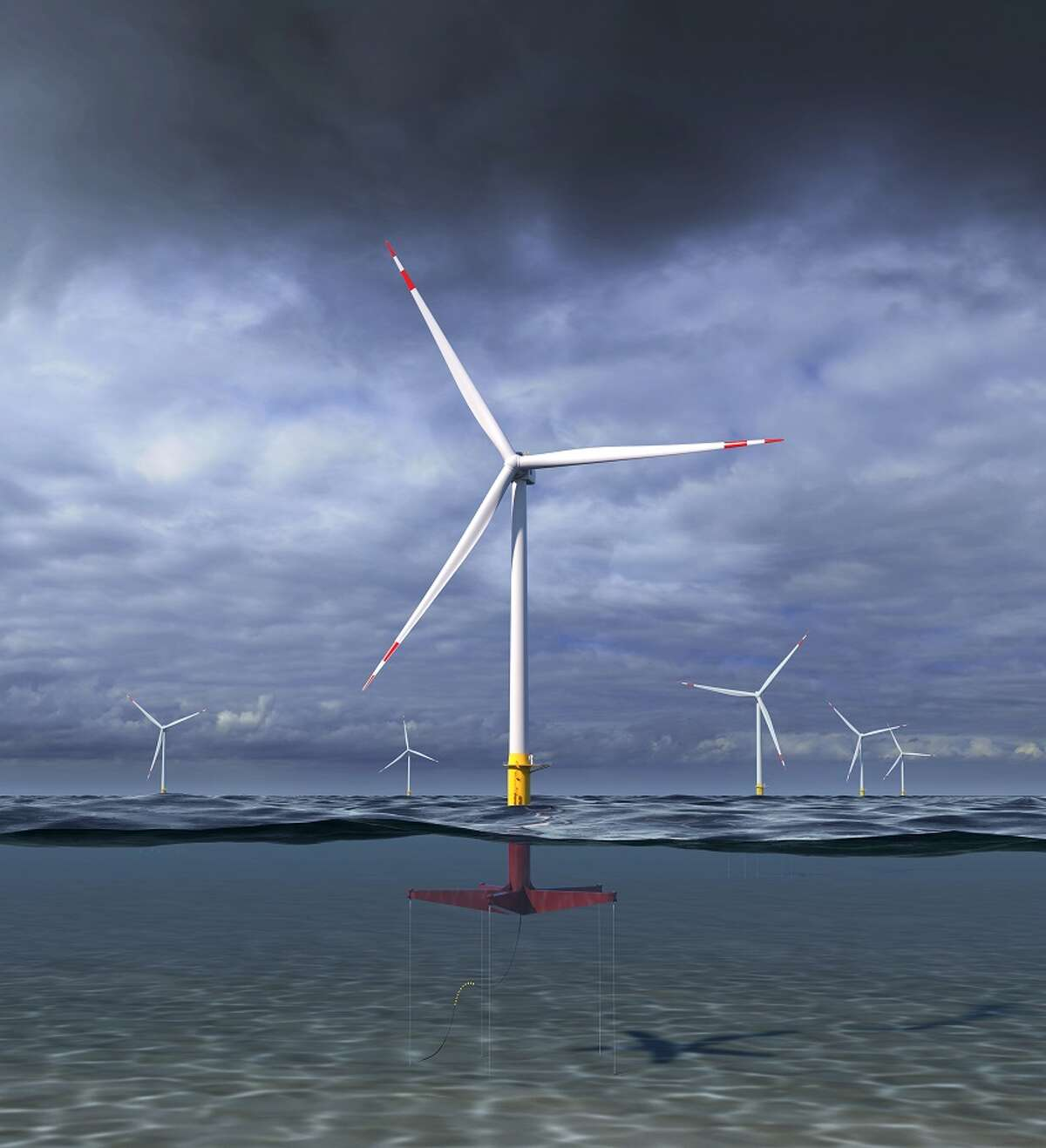 An artist's rendering of the 12 MW floating wind turbine concept GE Research and Glosten are designing as part of their Atlantis program project with ARPA-E.