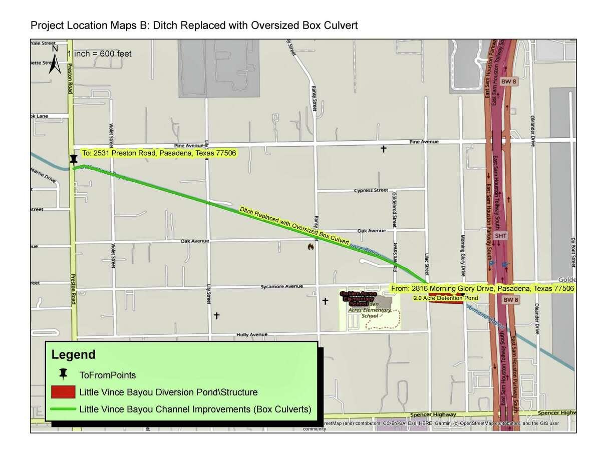 Drainage improvements planned for Little Vince Bayou include replacing a ditch with a box culvert.