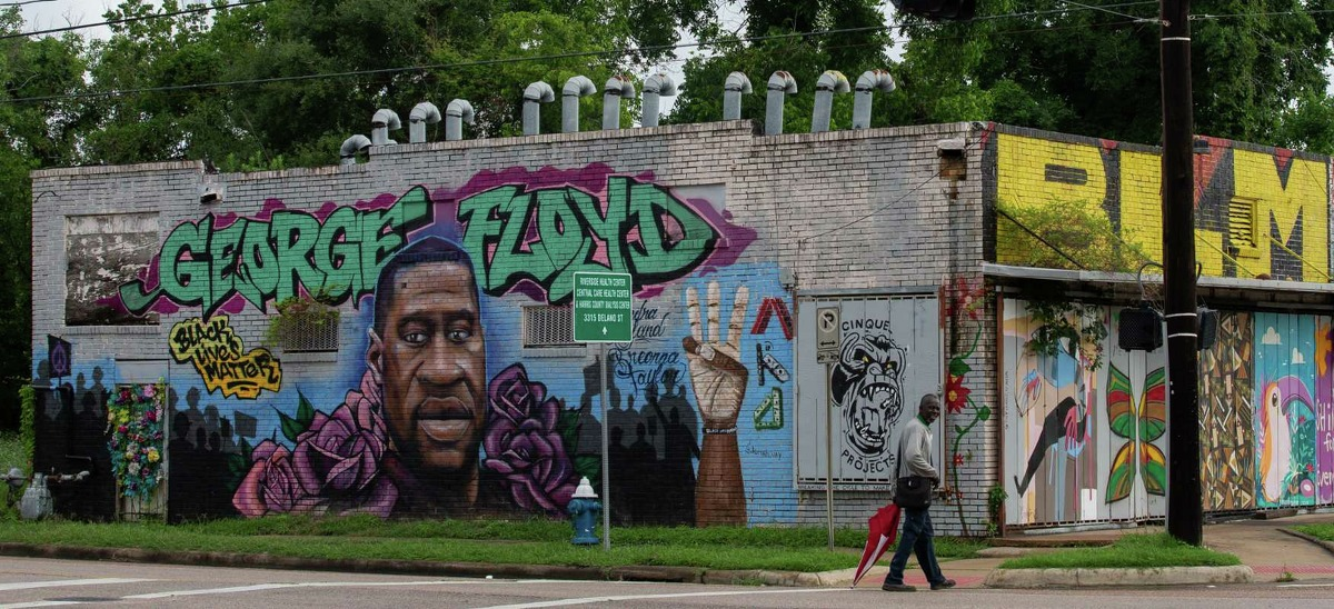 A George Floyd mural located on the intersection of Elgin and Ennis streets on Monday, May 24, 2021, in Third Ward, Houston.