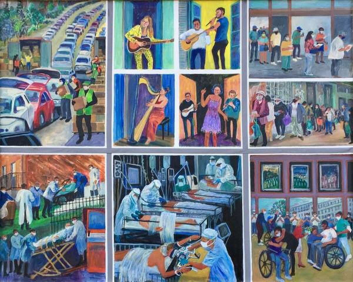 Life In COVID - Reflections On Danger And Hope during a global pandemic - oil on canvas; multi-panel.