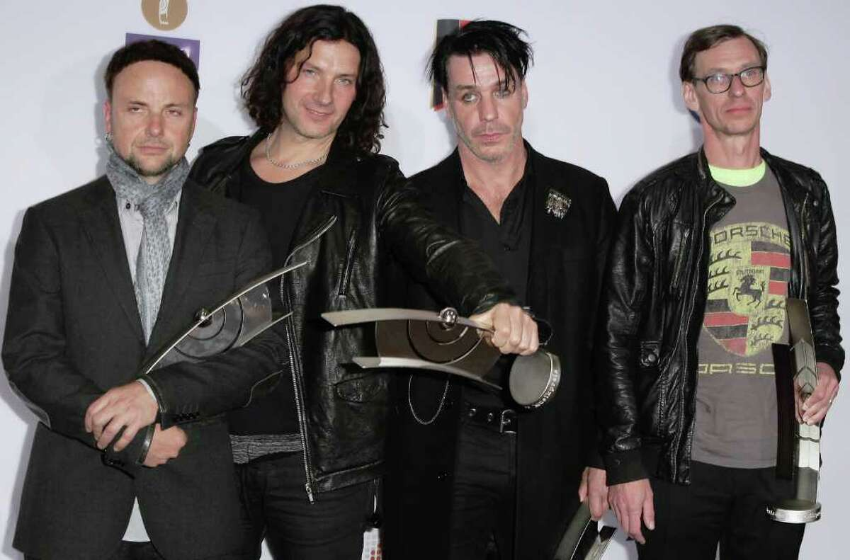 The German band Rammstein poses with its award during for the Echo awards in 2011 at Palais am Funkturm on March 24, 2011 in Berlin, Germany. The popular industrial metal band will perform at the Alamodome in Sept. 2022