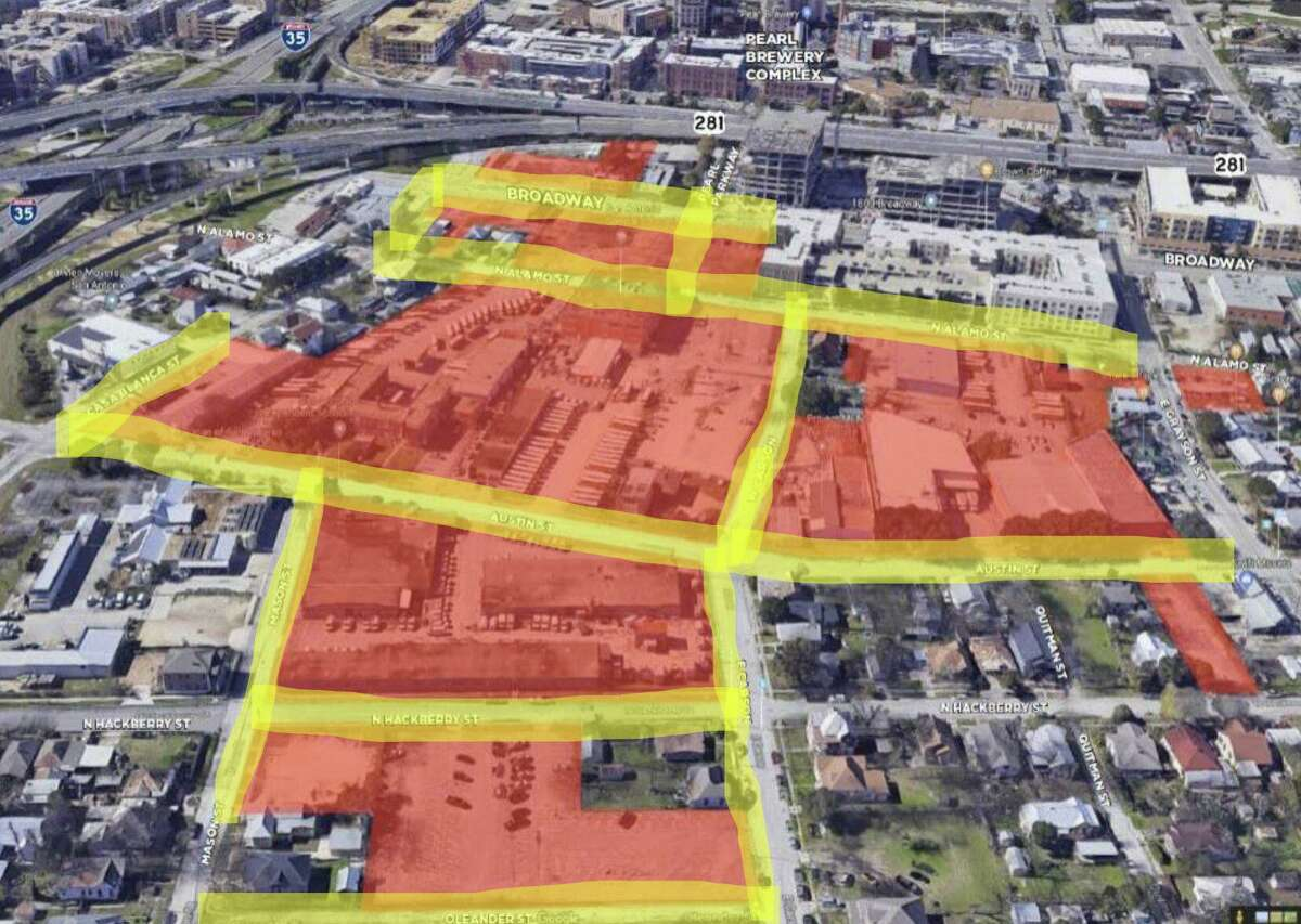 A map shows the land GrayStreet Partners owns along Broadway across from the Pearl.