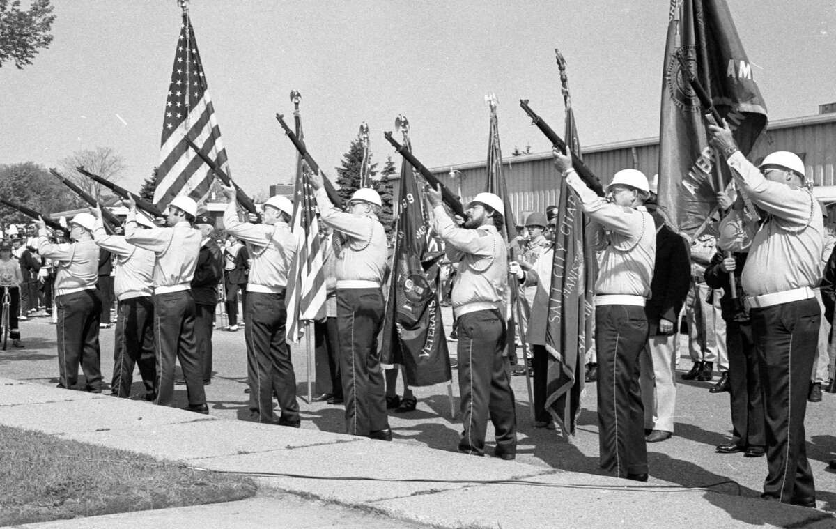 Services honoring people who served in the military were held on Memorial Day in Manistee on May 25, 1981. (Manistee County Historical Museum photo)