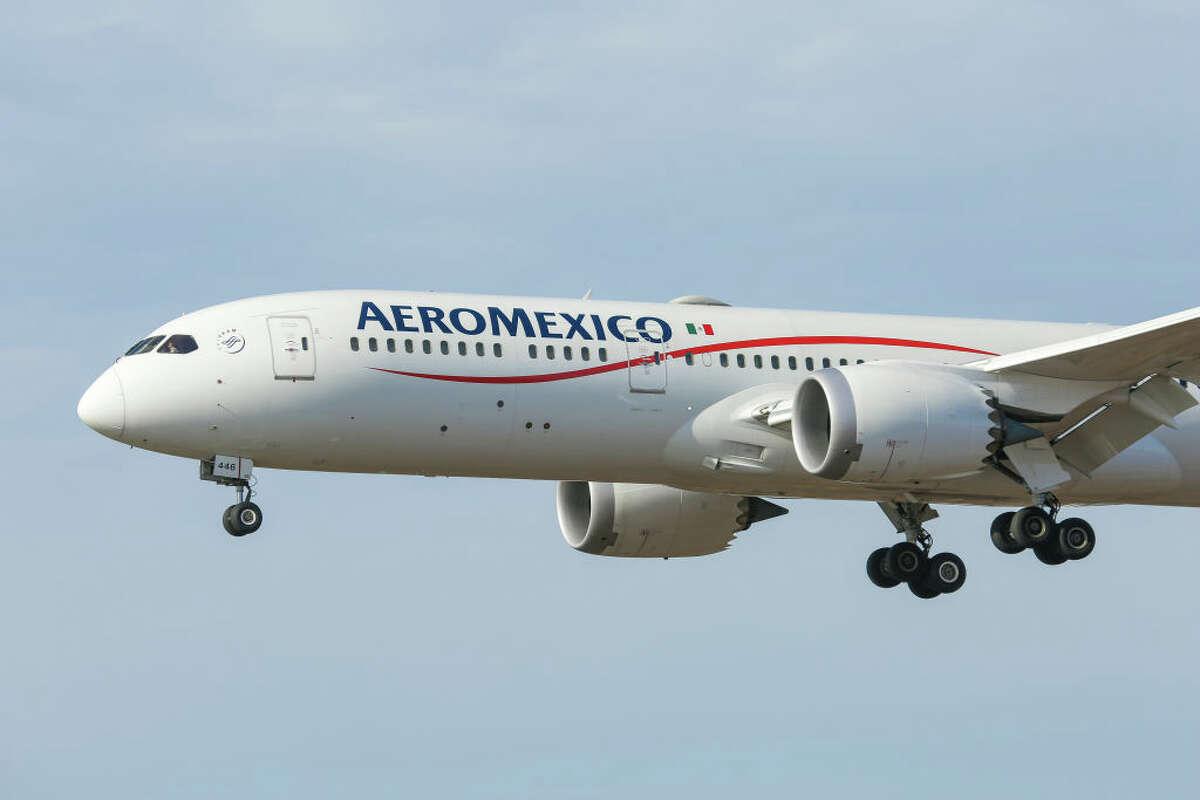 Aeromexico Boeing 787 Dreamliner passenger aircraft as seen flying on final approach for landing at New York JFK John F Kennedy International Airport.