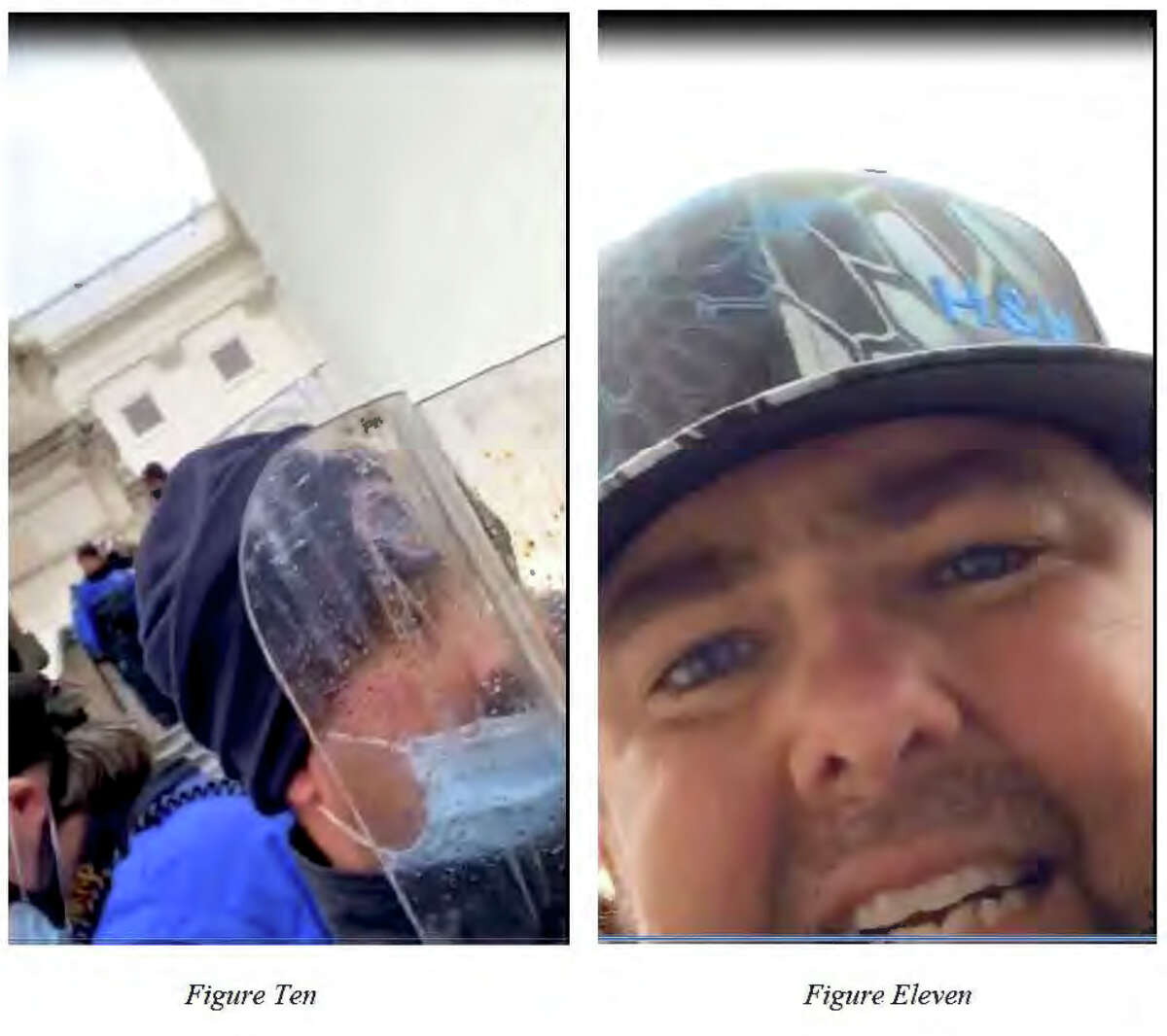 Still photos captured from a cell phone video show Daniel Page Adams charging the Capitol, FBI agents say. The video ends with a thud as Adams holds his head and looks into the camera.