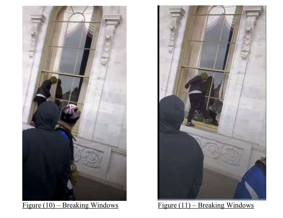 Video taken by Ryan Zink of Lubbock, Texas, shows someone kicking in a Capitol window, prosecutors say.