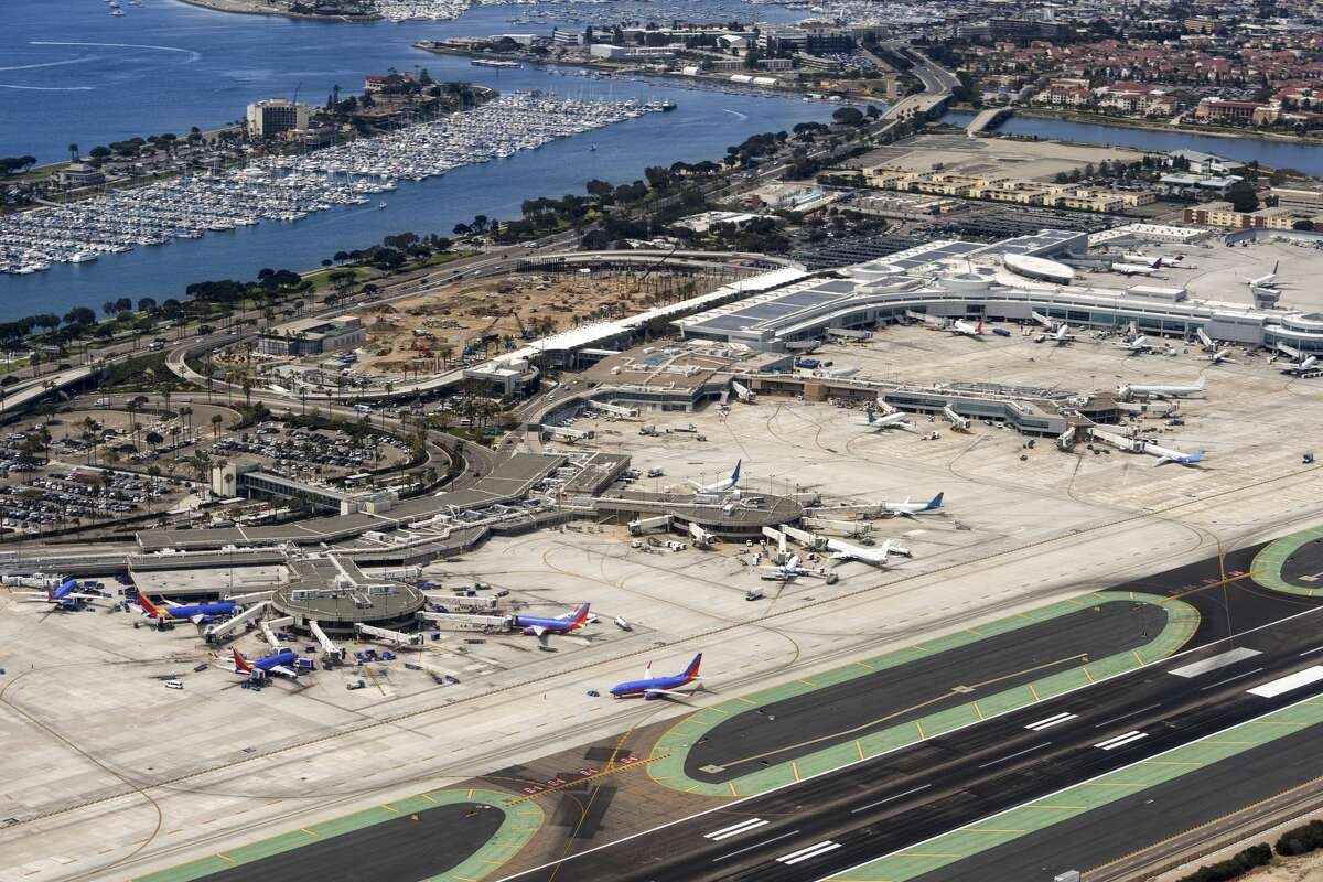 FILE - A helicopter point of view of San Diego International Airport.