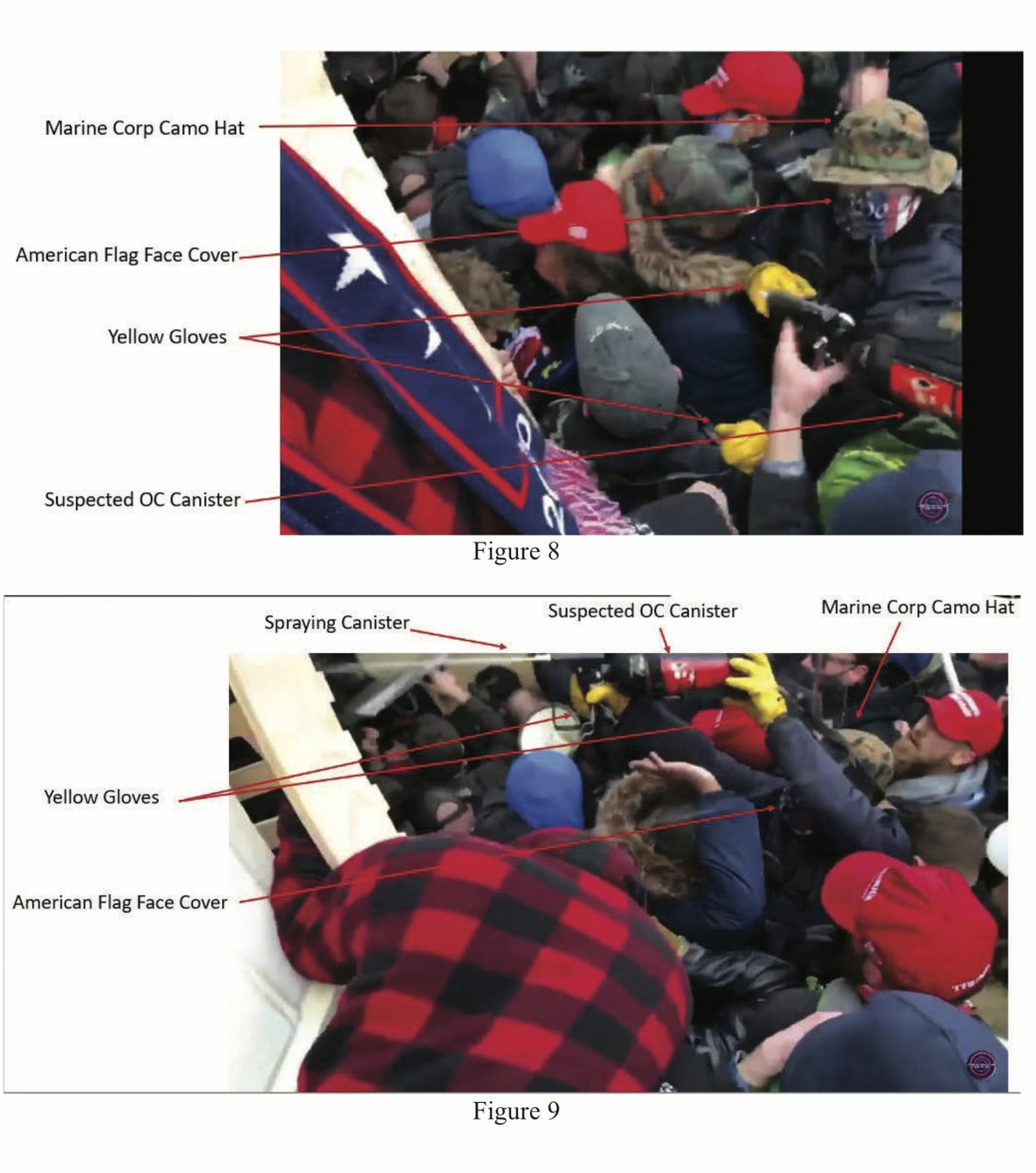 Stills from video footage showing Ryan Nichols of Longview, Texas, and Alex Harkrider of Carthage, Texas, joining a crowd forcing its way into the Capitol, according to charging documents.