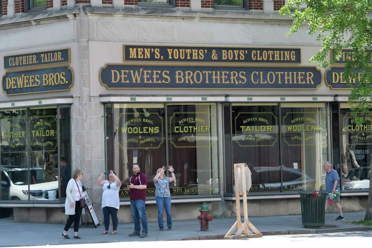 The facades of stores and businesses around Monument Square have been transformed to look like the 1880s as crews worked to set up for filming that will be taking place for the HBO show, The Gilded Age, on Tuesday, May 25, 2021, in Troy, N.Y. (Paul Buckowski/Times Union)