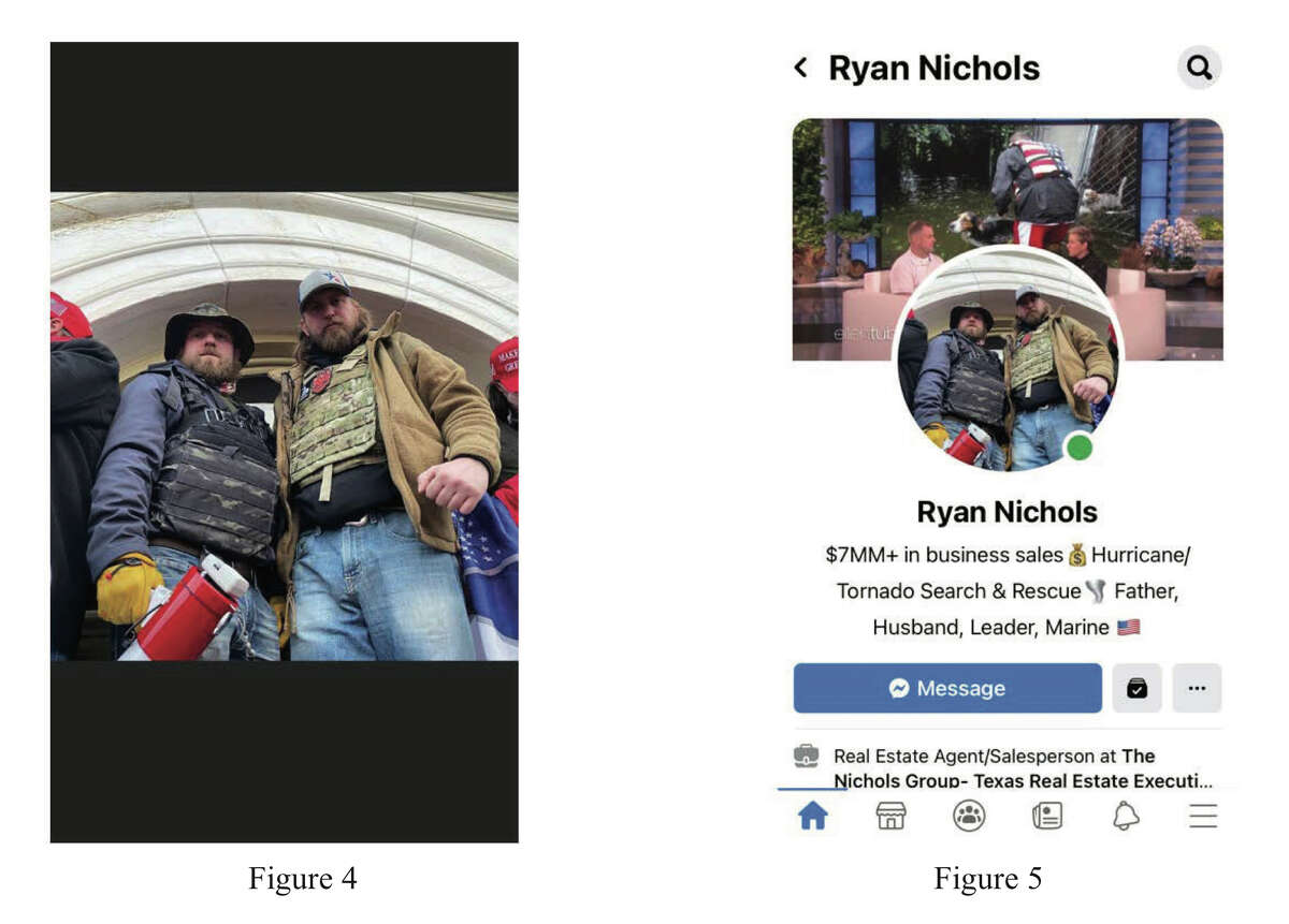 Ryan Nichols of Longview, Texas, and Alex Harkrider of Carthage, Texas, perched on the ledge of a window at the U.S. Capitol. Nichols made the image his Facebook profile picture, prosecutors say.