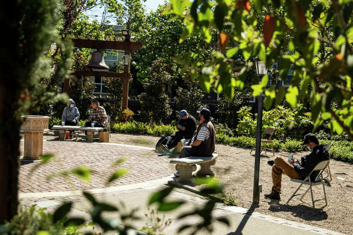 The Episcopal Church of Saint John the Evangelist in the Mission district of San Francisco is serving coffee and treats to homeless people from 9 a.m. to 2 p.m. every weekday in its courtyard.