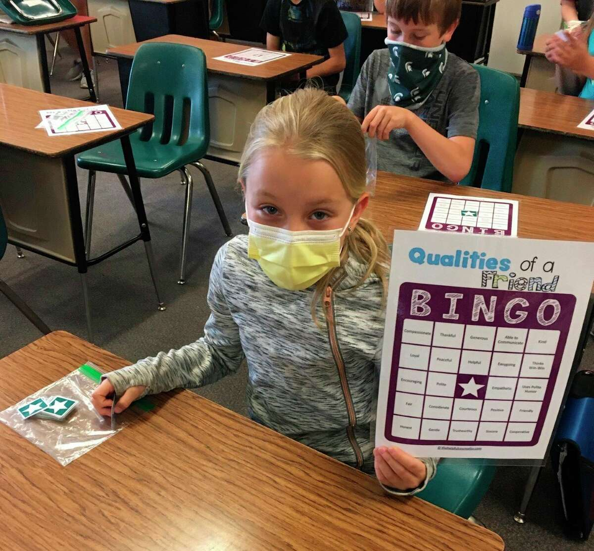 Tracy Bennett's students at Onekama Consolidated Schools played Qualities of a Friend bingo as part of Mental Health Awareness Month. (Courtesy photo)