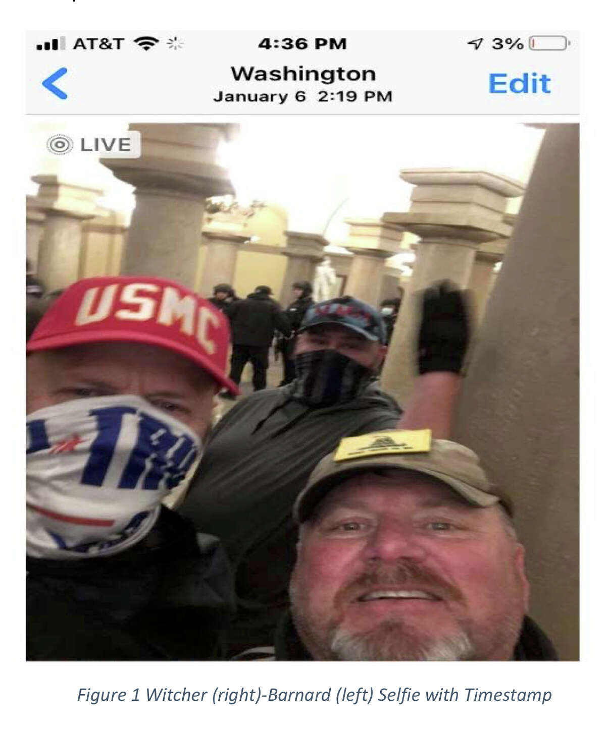 Central Texans Jeffrey Witcher, right, and Richard Barnard, left, pose for a selfie at 2:19 p.m. from inside the Capitol Building, according to charging documents.