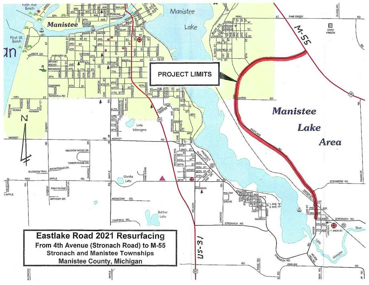 Construction work will begin around June 6, for nearly three miles along Eastlake Road from 4th Avenue/Stronach Road to M-55. (Courtesy Map/Manistee County Road Commission)