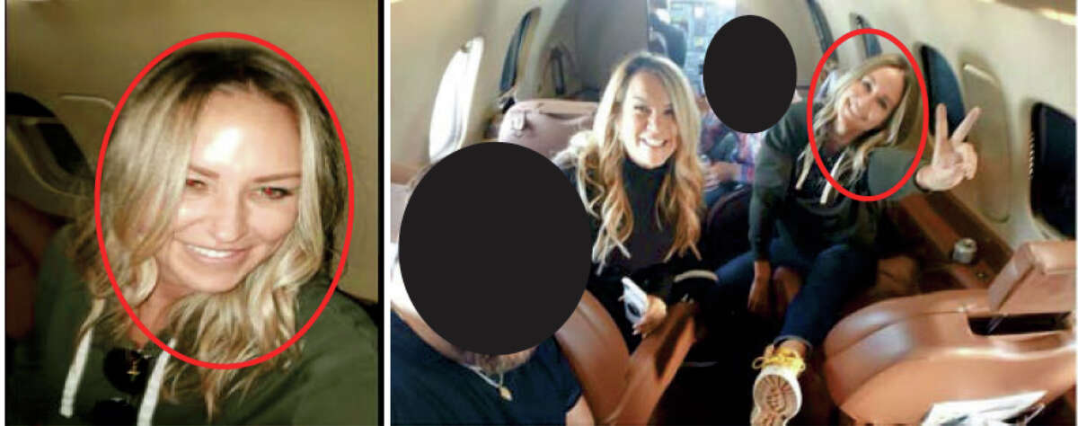 """Photos posted on Facebook show Texas residents Jenna Ryan, left, and Katherine Schwabb, right, on the """"Patriot flight"""" to Washington, D.C."""