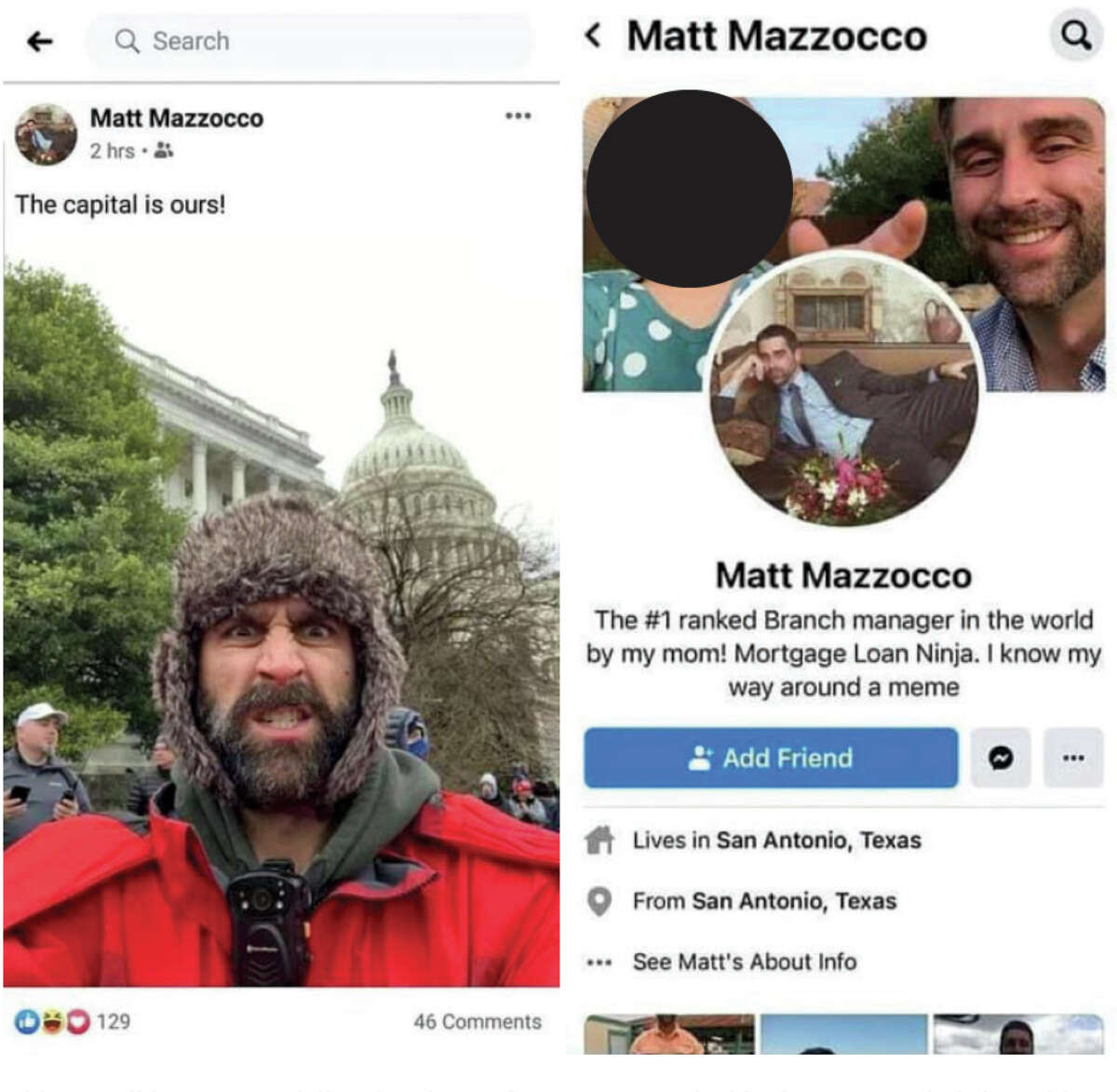 Parents from a youth sports league in San Antonio saw Matthew Mazzocco's posts on Facebook and Twitter from the Capitol that day and alerted federal authorities.