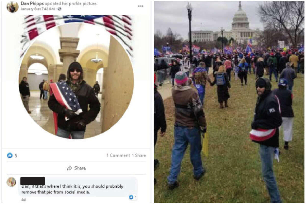 Daniel Phipps of Garland, Texas, posted images of himself outside and inside the Capitol Building on Facebook, according to charging documents.
