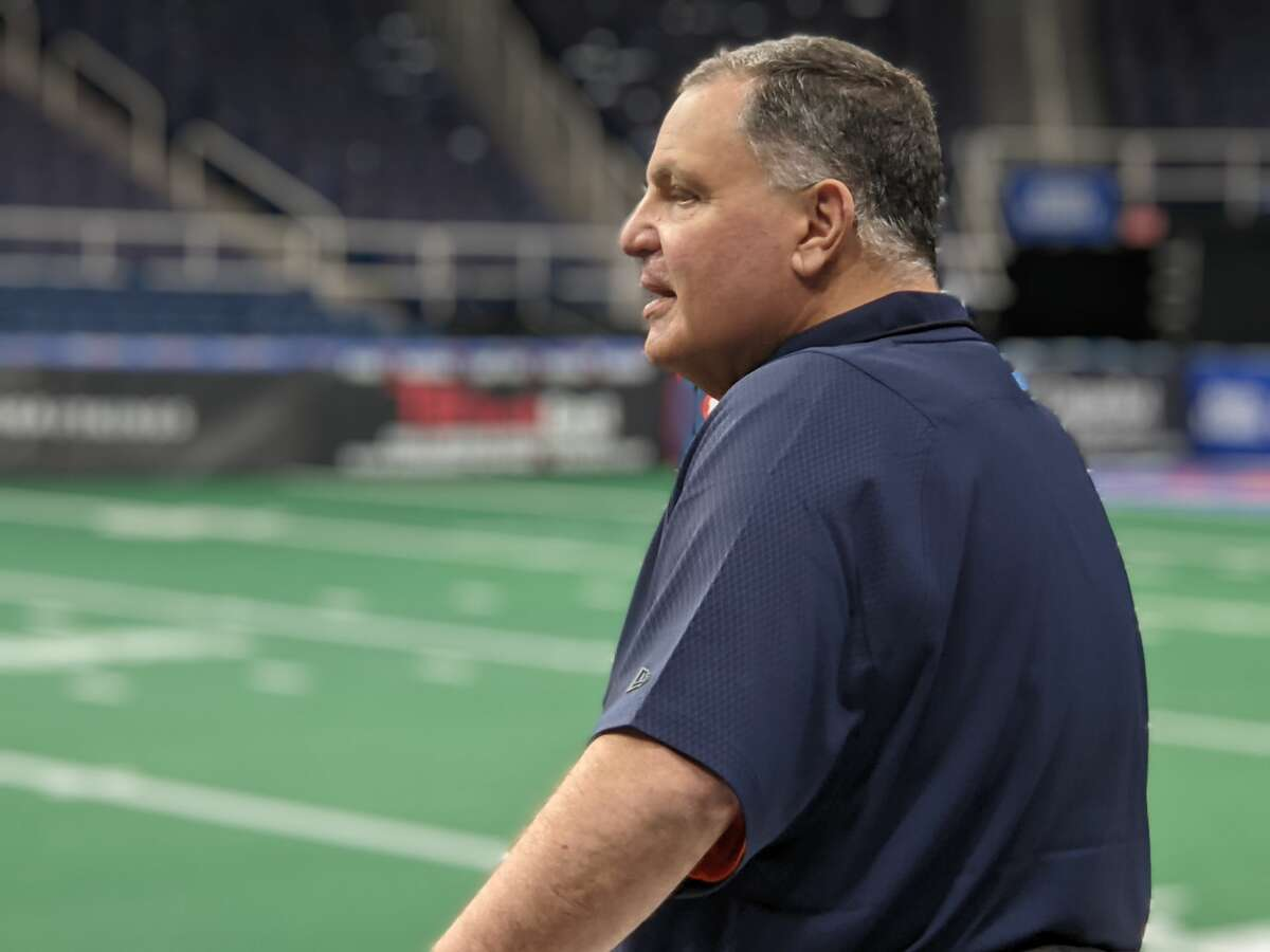 Albany Empire coach Tom Menas watches his team practice at Times Union Center. (Pete Dougherty / Times Union)