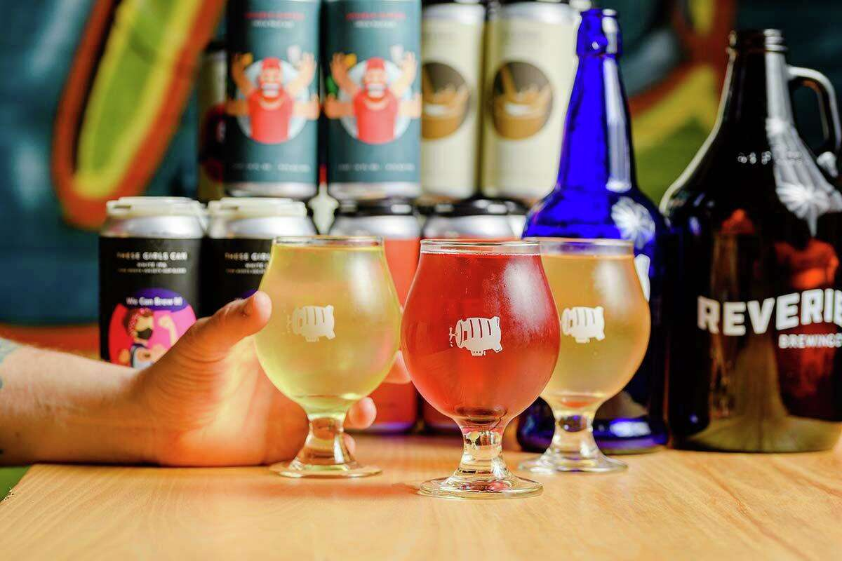 Some of the new cider offerings at Reverie Brewing Co. in Newtown
