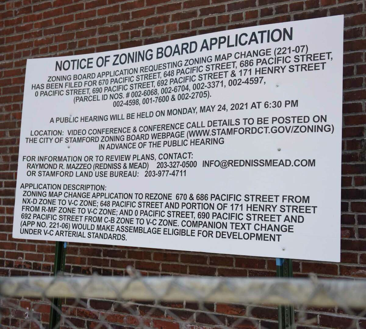 A notice of zoning board application is posted on a property in the South End of Stamford on Tuesday.