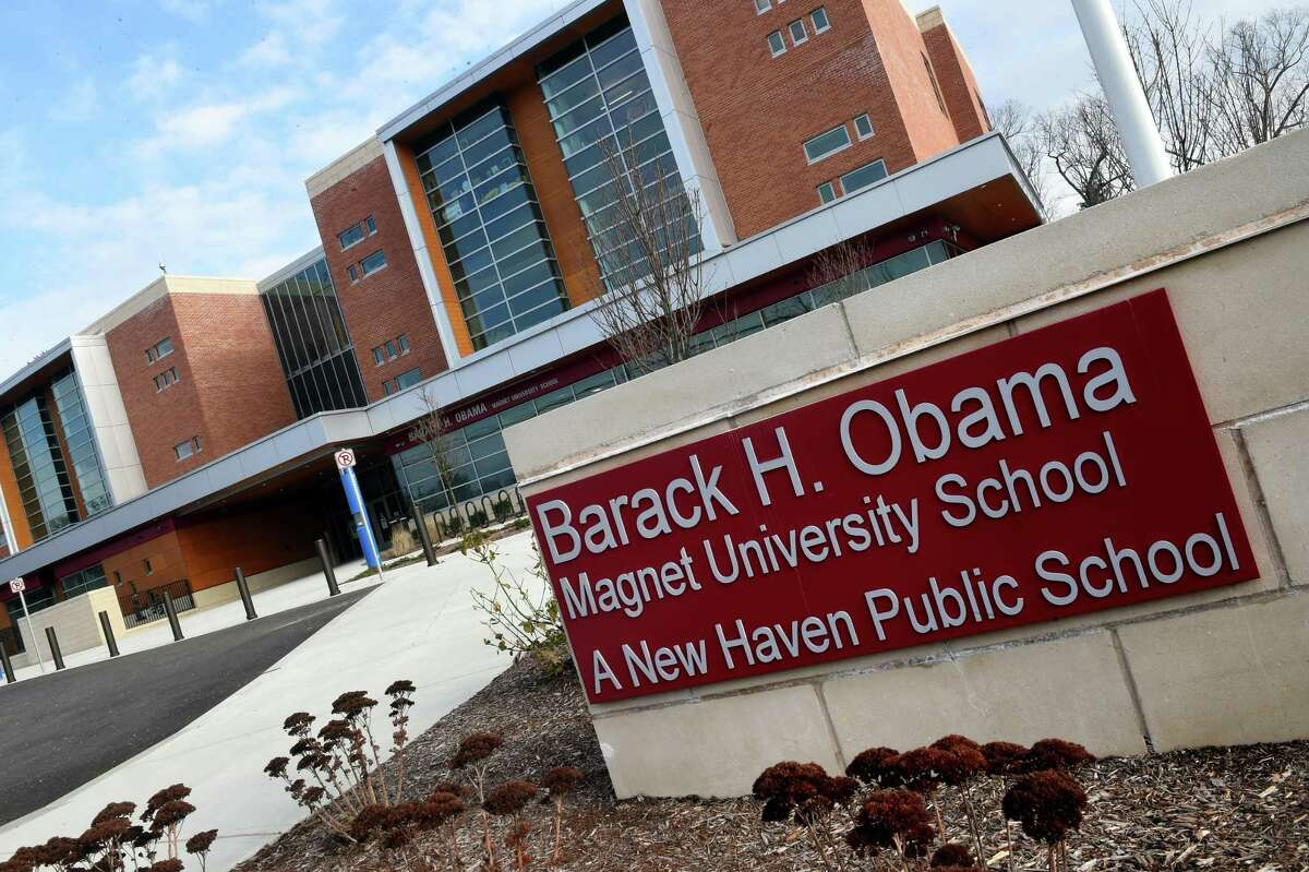 Barack H. Obama Magnet University School in New Haven photographed on January 12, 2021.