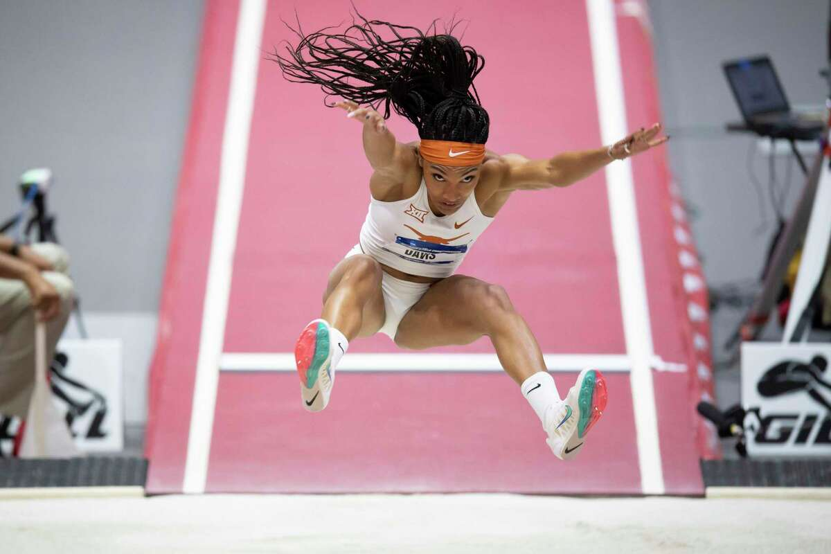 Tara Davis, winnng the long jump at the NCAA Indoor Championship is March, has her sights set on the NCAA Outdoor Championships and possible Olympic qualification.