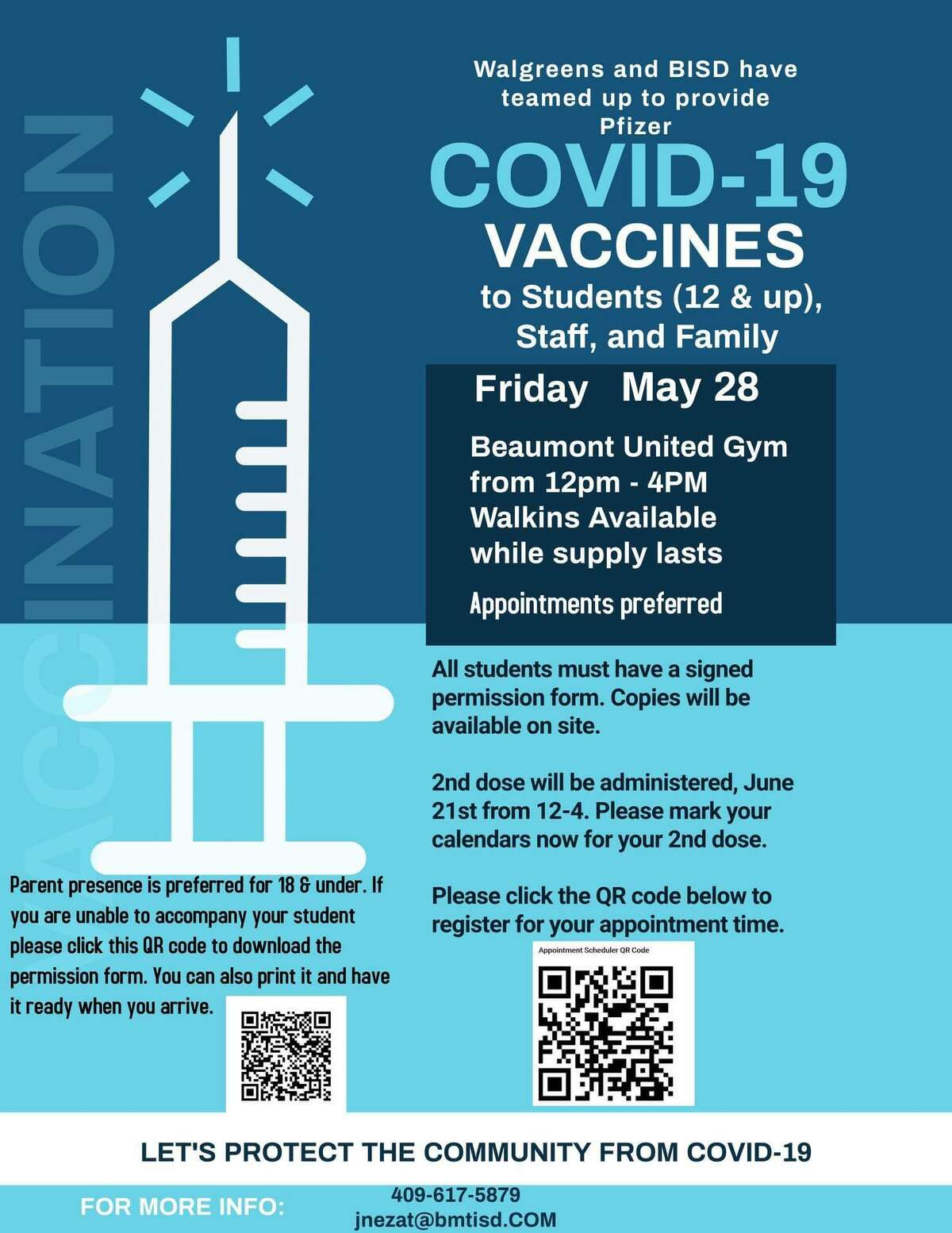 Beaumont ISD is providing free COVID-19 vaccines to students, staff and parents.