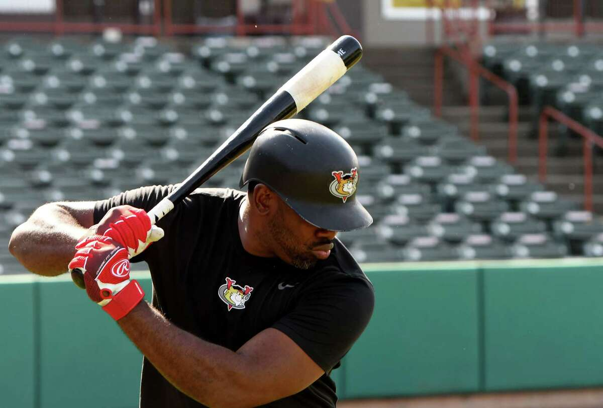 Tri-City ValleyCats first baseman Denis Phipps warms up during batting practice on Tuesday, May 25, 2021, at Joseph L. Bruno Stadium in Troy, N.Y. At 35, Phipps is the oldest player in franchise history. He played briefly in the majors for the Cincinnati Reds. (Will Waldron/Times Union)
