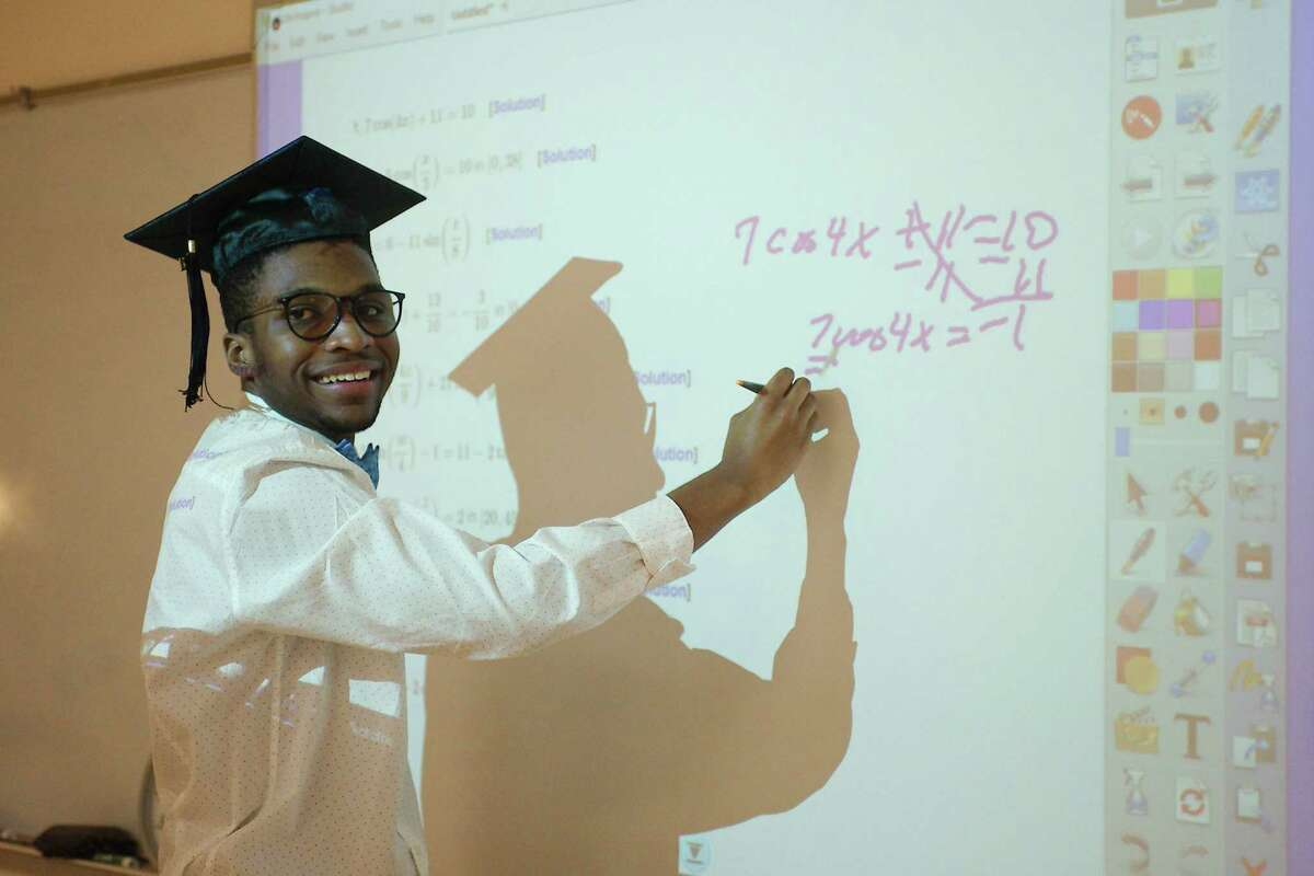 Pasadena High School graduating senior Desmond Gourrier enjoys solving math problems. Though he's science- and math-oriented, Gourrier is also a people person.