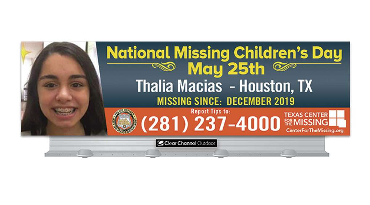 Katy teen Thalia Macias has been missing since December 2019, and her photo will be broadcast on 34 digital billboard units throughout the Houston region.