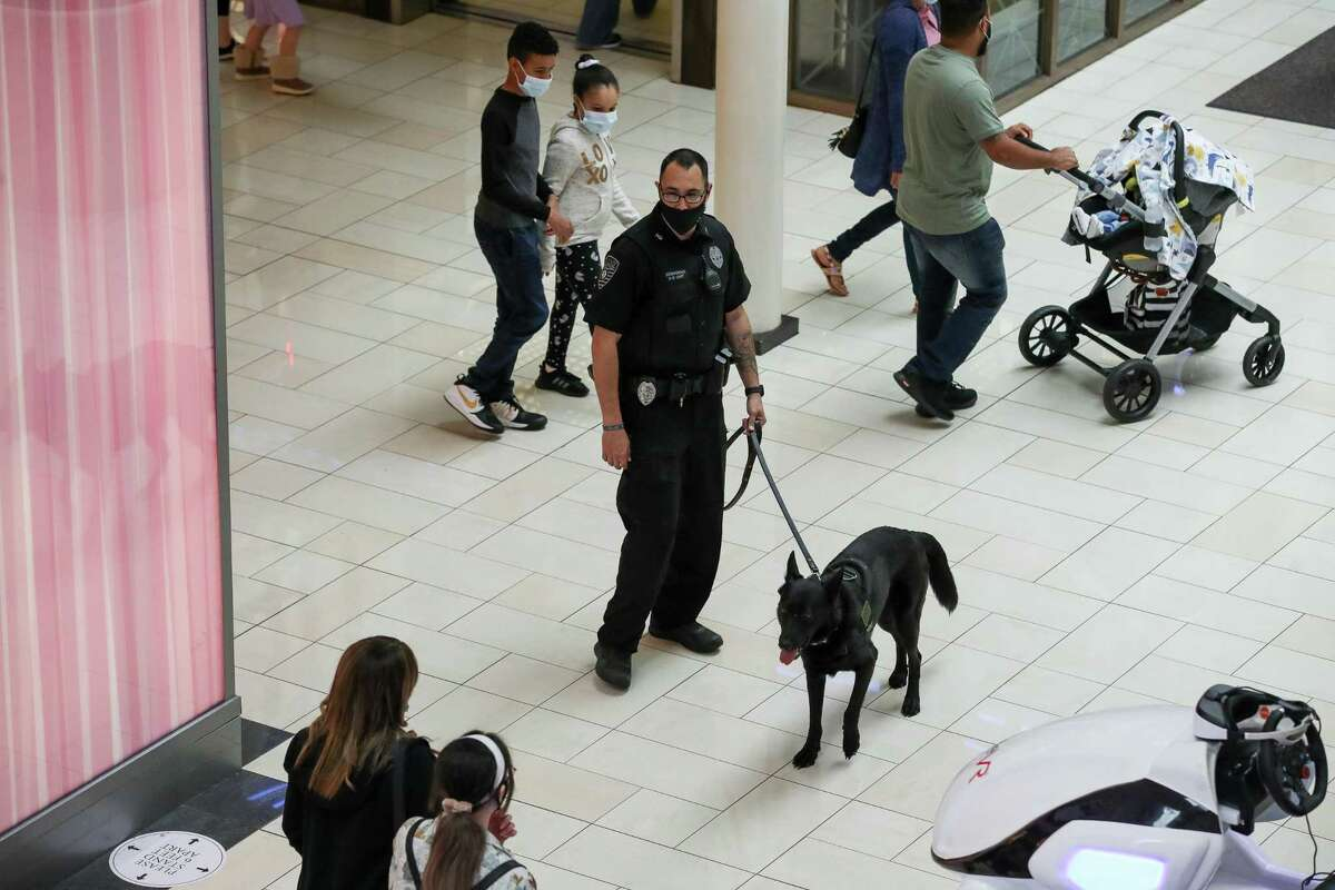 Security officer Brandon Brinkman and his K-9 partner Maki make their rounds inside Deerbrook Mall on Saturday, April 17, 2021, in Humble, Texas. Maki is a firearm-sniffing dog, he alerts Brinkman if a visitor has any gunpowder residue on their person. The measure is an effort to stave off shootings and make people feel safe coming to shop.