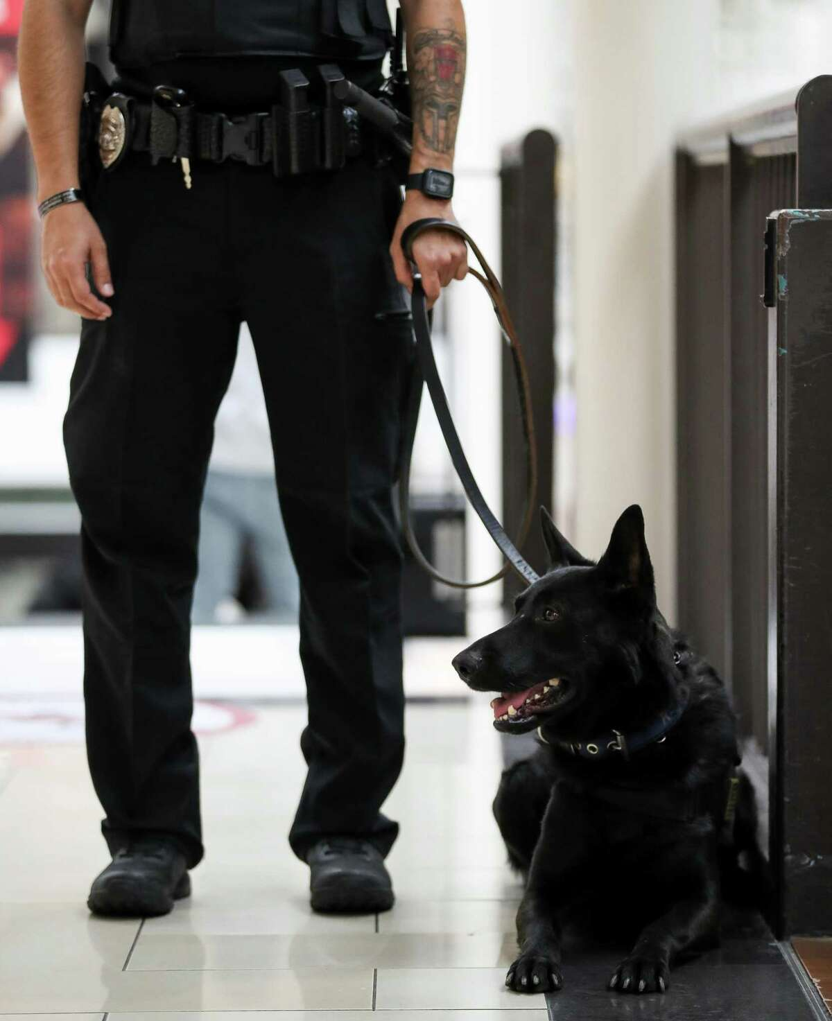 Security officer Brandon Brinkman and his K-9 partner Makimake their rounds inside Deerbrook Mall on Saturday, April 17, 2021, in Humble, Texas. Makiis a firearm-sniffing dog, he alerts Brinkman if a visitor has any gunpowder residue on their person. The measure is an effort to stave off shootings and make people feel safe coming to shop.