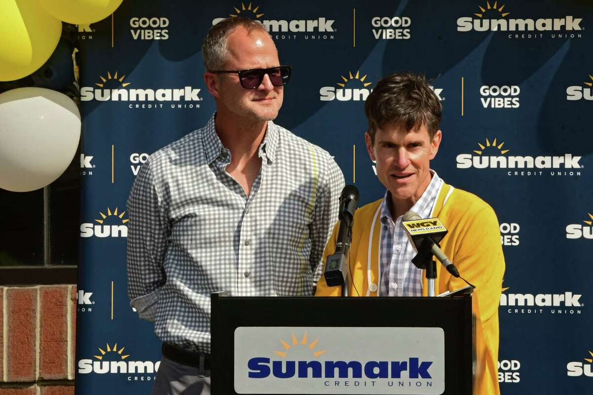 Beekman 1802 Co-Founders Josh Kilmer-Purcell, left, and Dr. Brent Ridge speak as Sunmark credt union unveils the 'Summer of Kindness' effort with Beekman 1802 at Sunmark headquarters on Tuesday, May 25, 2021 in Latham, N.Y. (Lori Van Buren/Times Union)