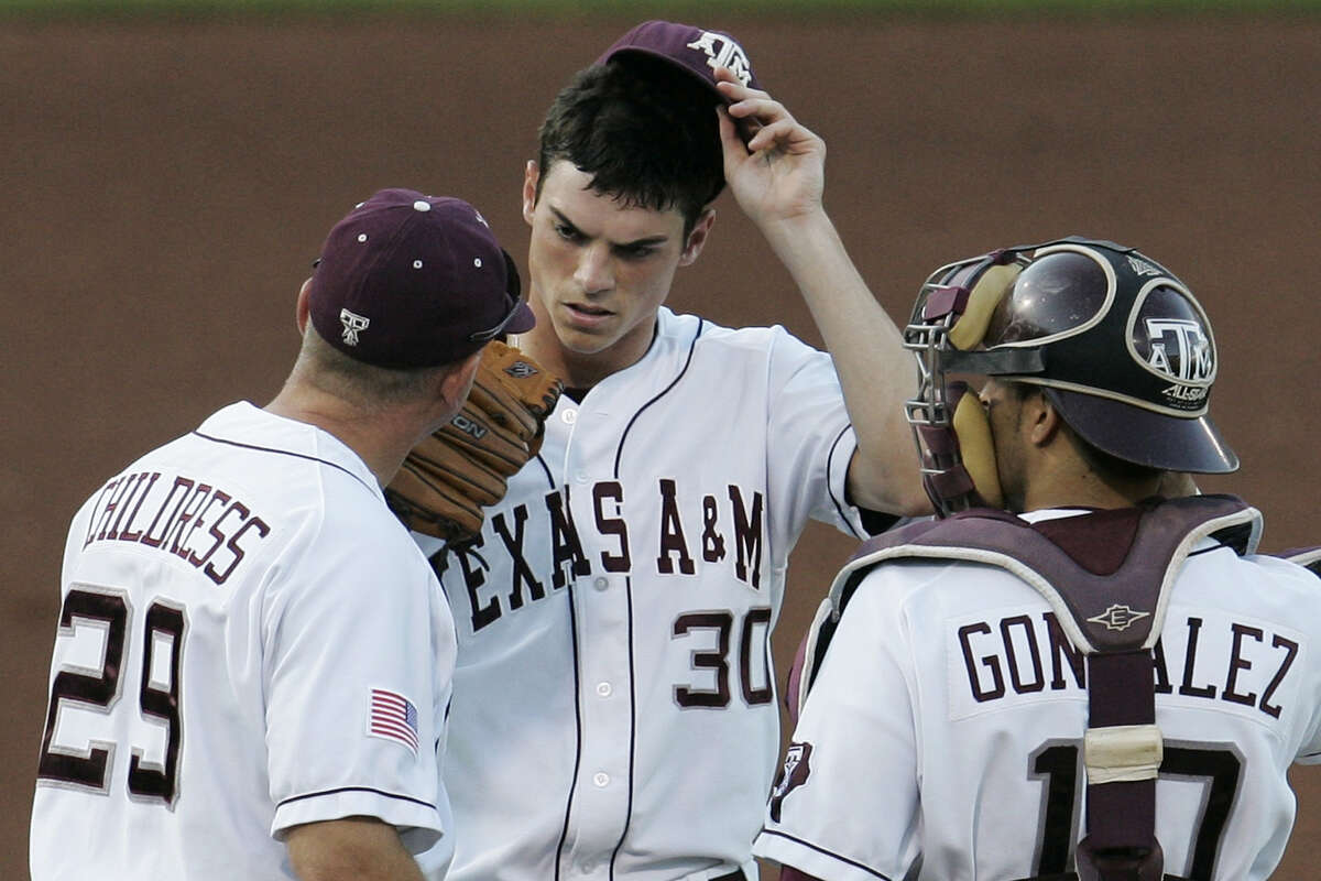 Astros reliever Brooks Raley, pictured in a 2009 mound visit with Texas A&M coach Rob Childress and catcher Kevin Gonzalez, said he owed a lot to Childress, who was fired this week after a long run in College Station.