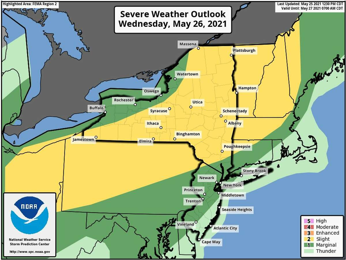 Thunderstorms will develop Wednesday afternoon, and track through our region through the evening, the National Weather Service Albany tweeted. Frequent lightning and damaging winds are expected, with a chance of isolated large hail, and