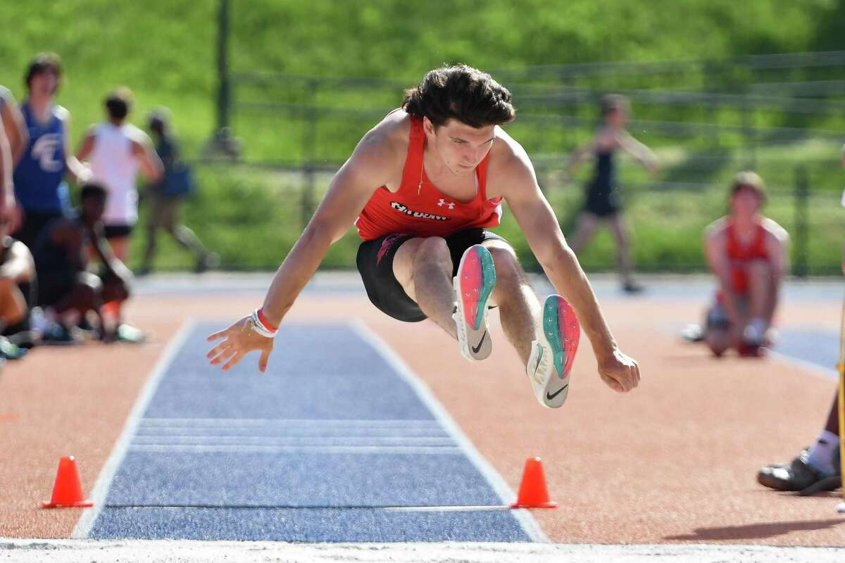 Greenwich's David Faugno was the winner in the long jump during the FCIAC Track and Field Championship on Tuesday at Danbury High School.