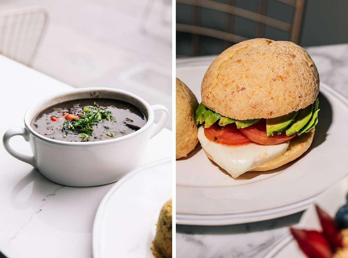 At Cafe de Casa in S.F.: feijoada (left) and pao de queijo sandwich with avocado, tomato and fresh mozzarella (right).